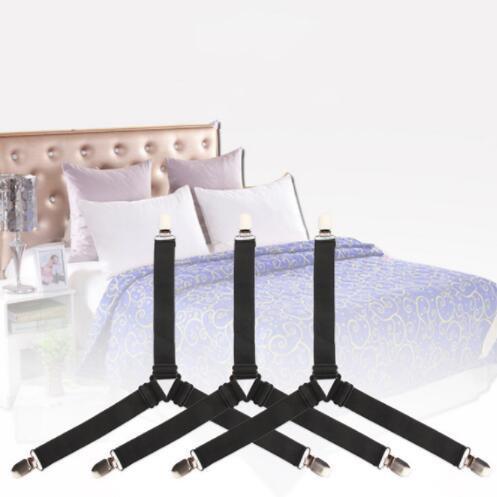 Bed sujetadores hoja 4 PCS ajustable Triángulo elástico tirantes Pinza Holder correas Clip para Bed Sheets Sofá fundas de colchones YP151