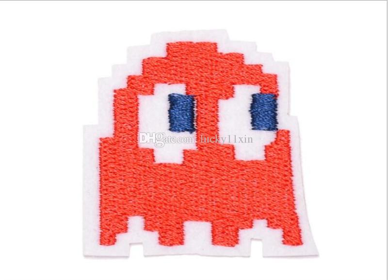 Red Pac-man Ghost games Iron on Embroidered cartoon patch Shirt Kids Gift baby shirt bag trousers coat Decora