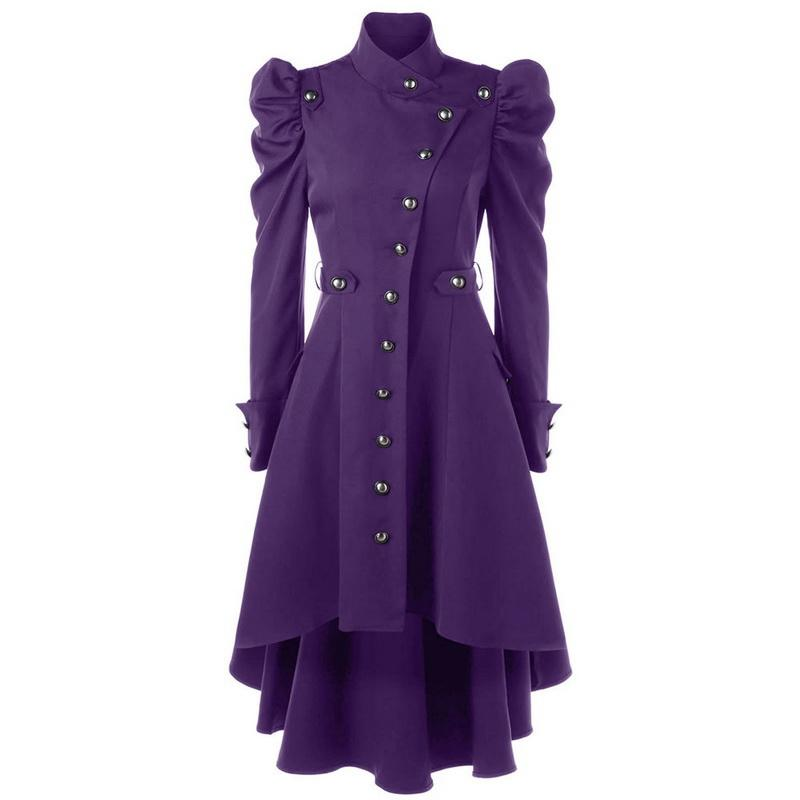 Women Winter Long Medieval Trench Black Stand Collar Gothic Coat Female Vintage Button Outerwear Tunic Elegant Coat