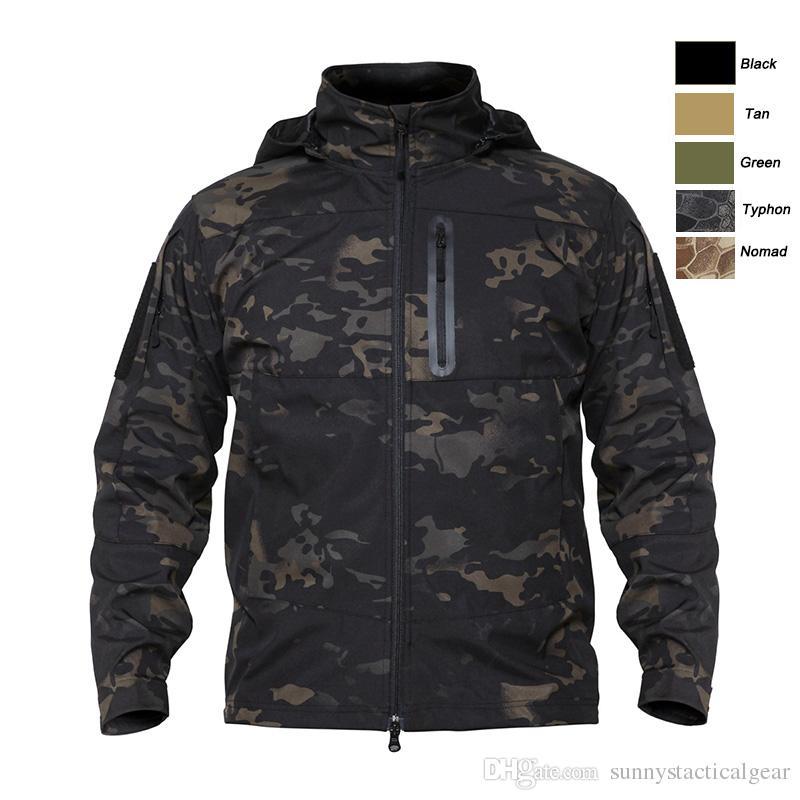 En plein air de chasse à la chasse à la chasse à la chasse tactique camo manteau de combat vêtements camouflage coupe-vent softshell veste à capuche extérieure no05-207