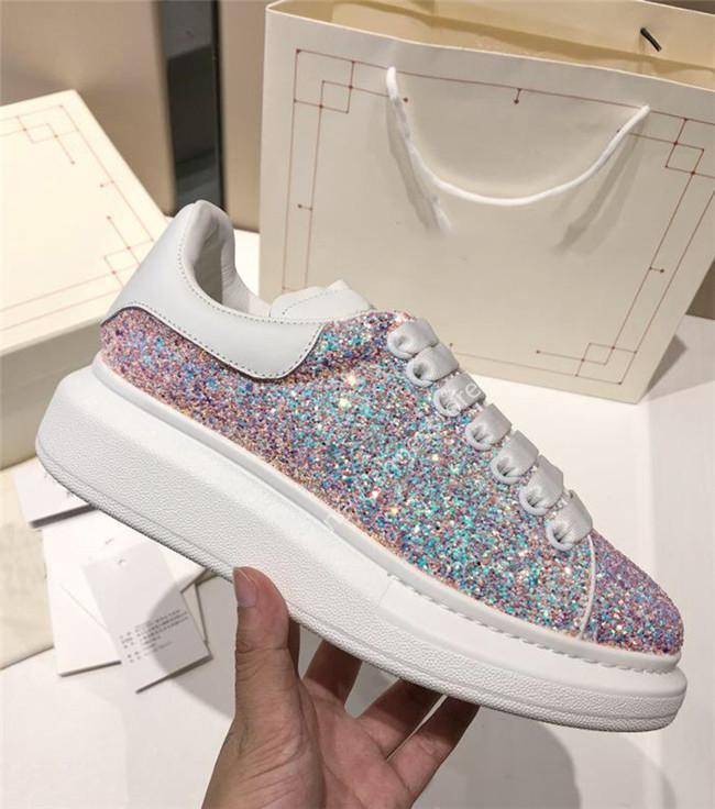 Top para mujer para hombre verano zapatos casuales de cuero de la plataforma del brillo de terciopelo zapatillas de deporte Negro brillo púrpura Zapatillas