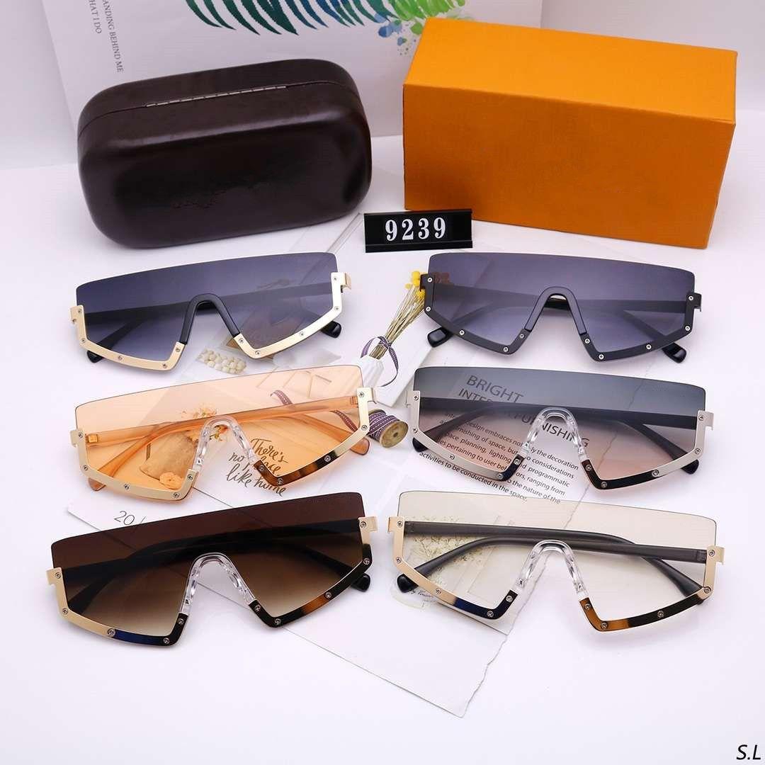 Мужская женщина Солнцезащитные очки Мода Солнцезащитные Очки Человек Женщины Негабаритные Очки Goggle uv400 9239 6 Цвет Высокое Качество с коробкой