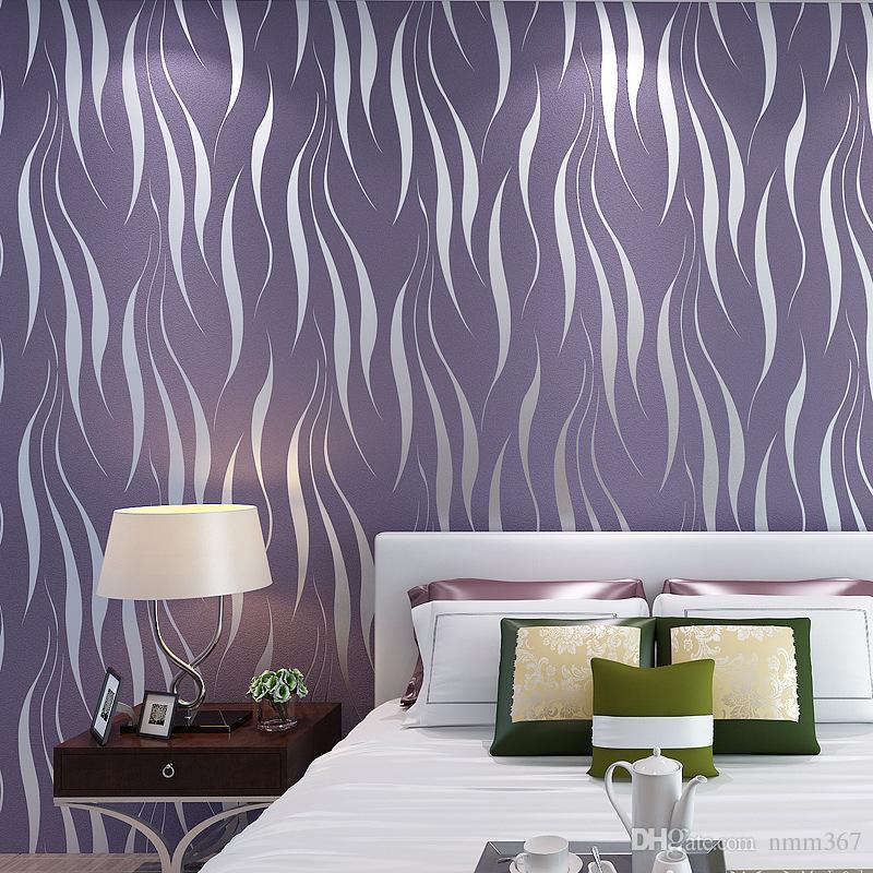 Moderne De Luxe Argent Argent Rayé Papier Peint Salon TV Fond Papier Peint PVC Vinyle Papier Peint Pour Murs 3D Mur Papier Peint