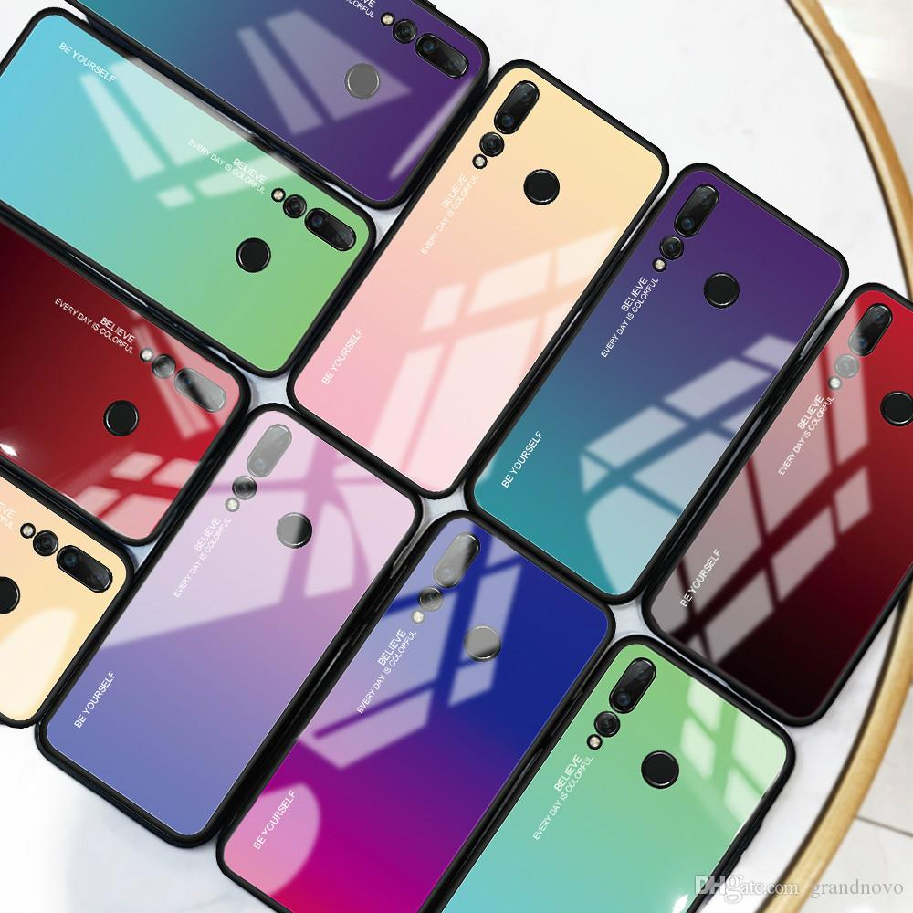 Rainbow Laser Aurora Gradient Tempered Glass TPU Rubber Case Cover For Huawei Honor 20 Pro 10 Lite Note 10 9X Pro 8X Max 8S Magic 2 V20