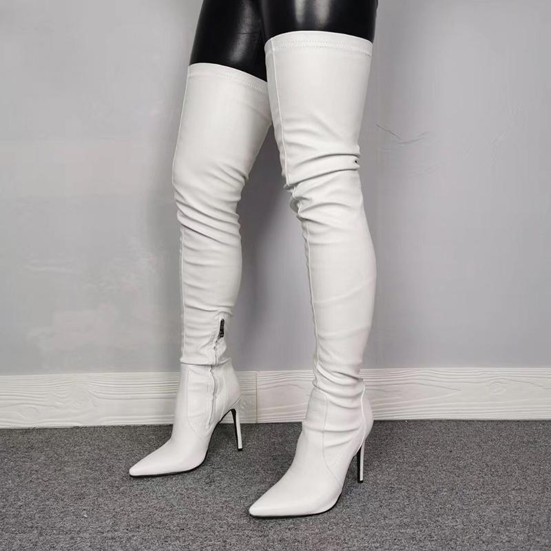 اليدوية ربيع المرأة الفخذ أحذية عالية الكعب الخنجر أحذية أشار تو أنيقة حزب أحذية النساء البيض زائد الحجم الولايات المتحدة 5-15