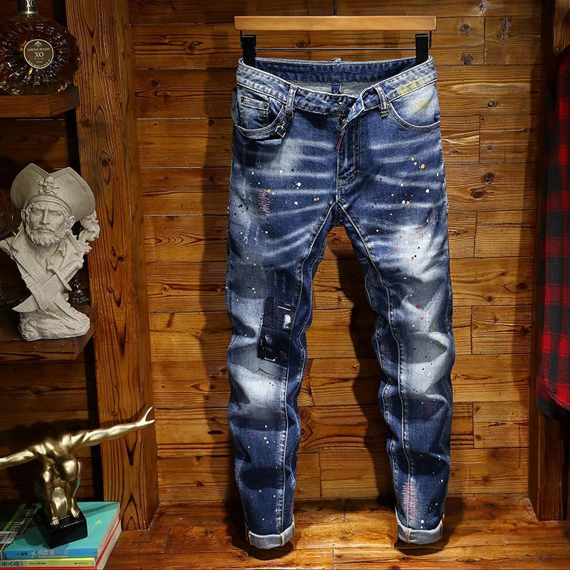 Moda Erkekler Jeans Erkek İnce Günlük Pantolon Elastik Pantolon Açık Mavi Fit Gevşek Pamuk Denim Markası Jeans Erkek İçin
