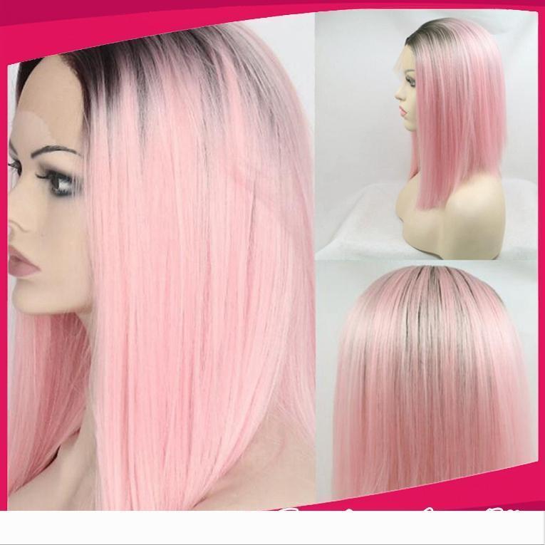 Ombre Black to-de-rosa curto sintético Bob Wigs Africano curtos americano reta de seda sintética rendas frente perucas de alta qualidade resistente ao calor