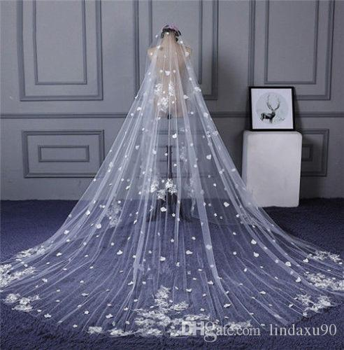 2019 Wedding Veils 3m Long Cathedral Length Full Lace Edge Appliqued 1T White Ivory Tulle Bridal Veils Customized