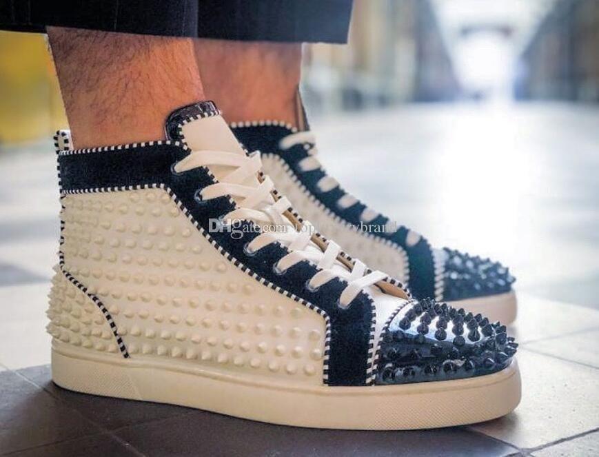 Sportlich Spikes 2 High Top-rote untere Schuhe Herren Sneaker mit Nieten schwarz mit weißem Lackleder + Veau Velour Luxus Designer Orlato Traine