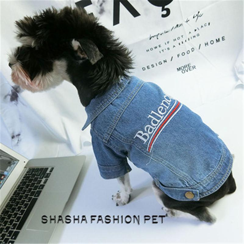 Wholesale Fashion Casual Dog Jeans Coat High Quality Personality Design Pet Coat Letter Pattern Clothing Free ship
