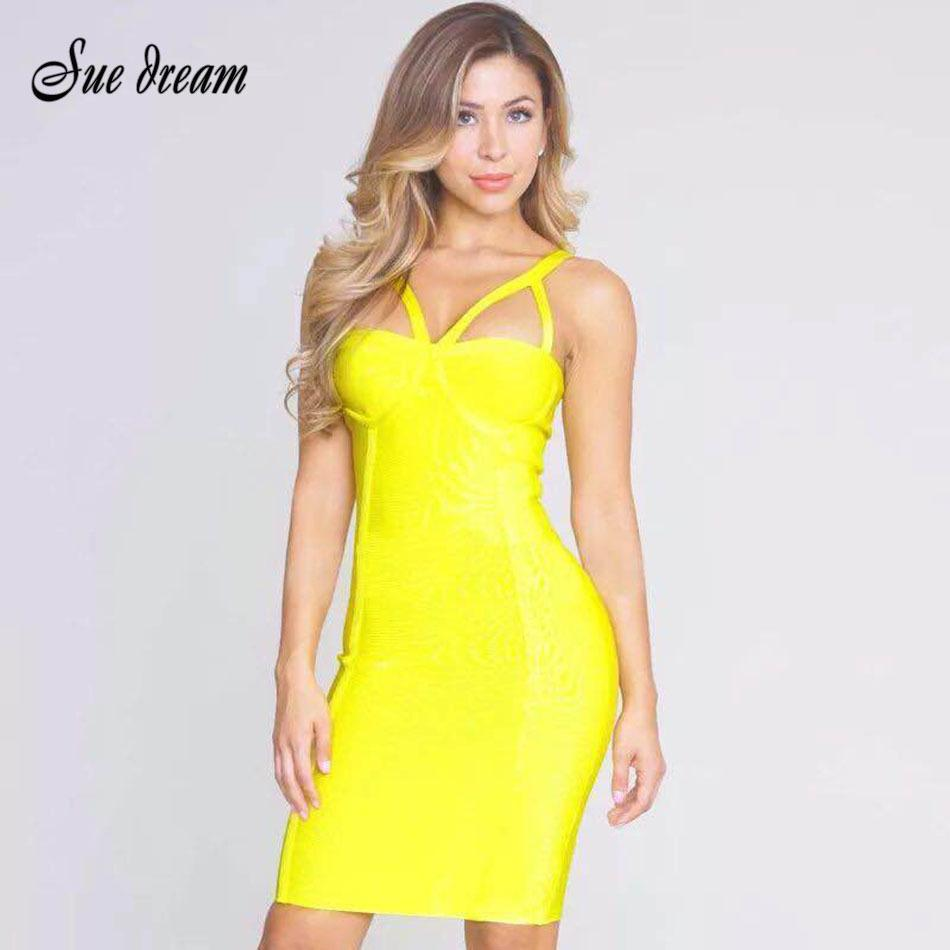 2017 Summer Women Bodycon Bandage Dress Yellow Sleeveless Strap Hollow Out Celebrity Evening Club Wear Runway Party Dress Y19052901