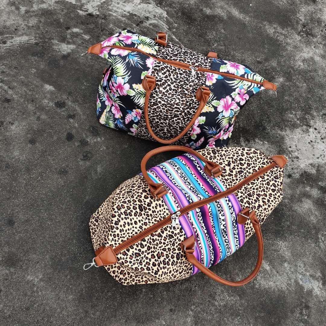أسلوب جديد أزياء المرأة الطباعة خليط يكيندير مقبض حقيبة جلدية كبيرة serape الفهد حقيبة متعددة الوظائف الأزهار السفر حقيبة حمل