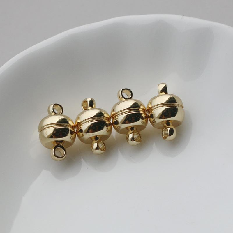 Couleur de l'or bille magnétique de la colonne en forme de barre extrémité de la boucle de fermoir rond fermeture magnétique pour faire 5pairs de 6 mm de bijoux