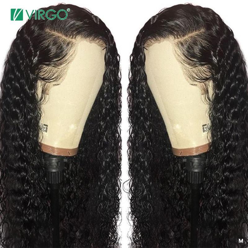 Virgem 8-26 dianteira do laço da onda de água peruca dianteira do laço Perucas 13x4 polegadas brasileira perucas de cabelo humano da Mulher Negra 150% Densidade do cabelo Remy