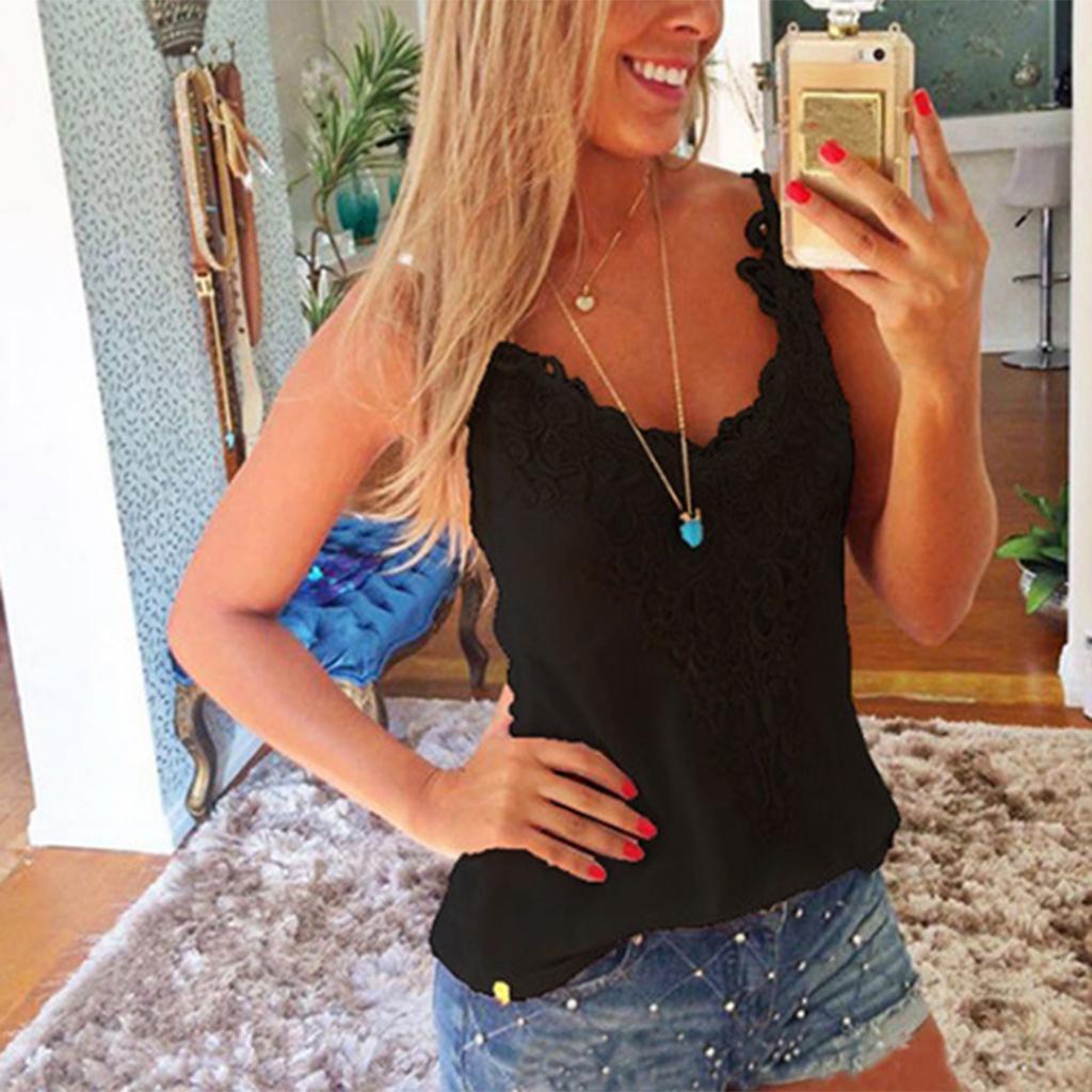 Девушка дама Женщина Хлопок топы без рукавов Кружева Vest Блузка Crop Top