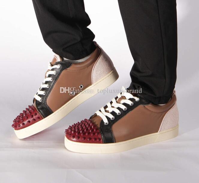 Sapatos de grife de alta qualidade para o homem mulheres red bottoms Junior Spikes Sapatilhas planas de couro Genuíno moda paris vestido sapatos com caixa