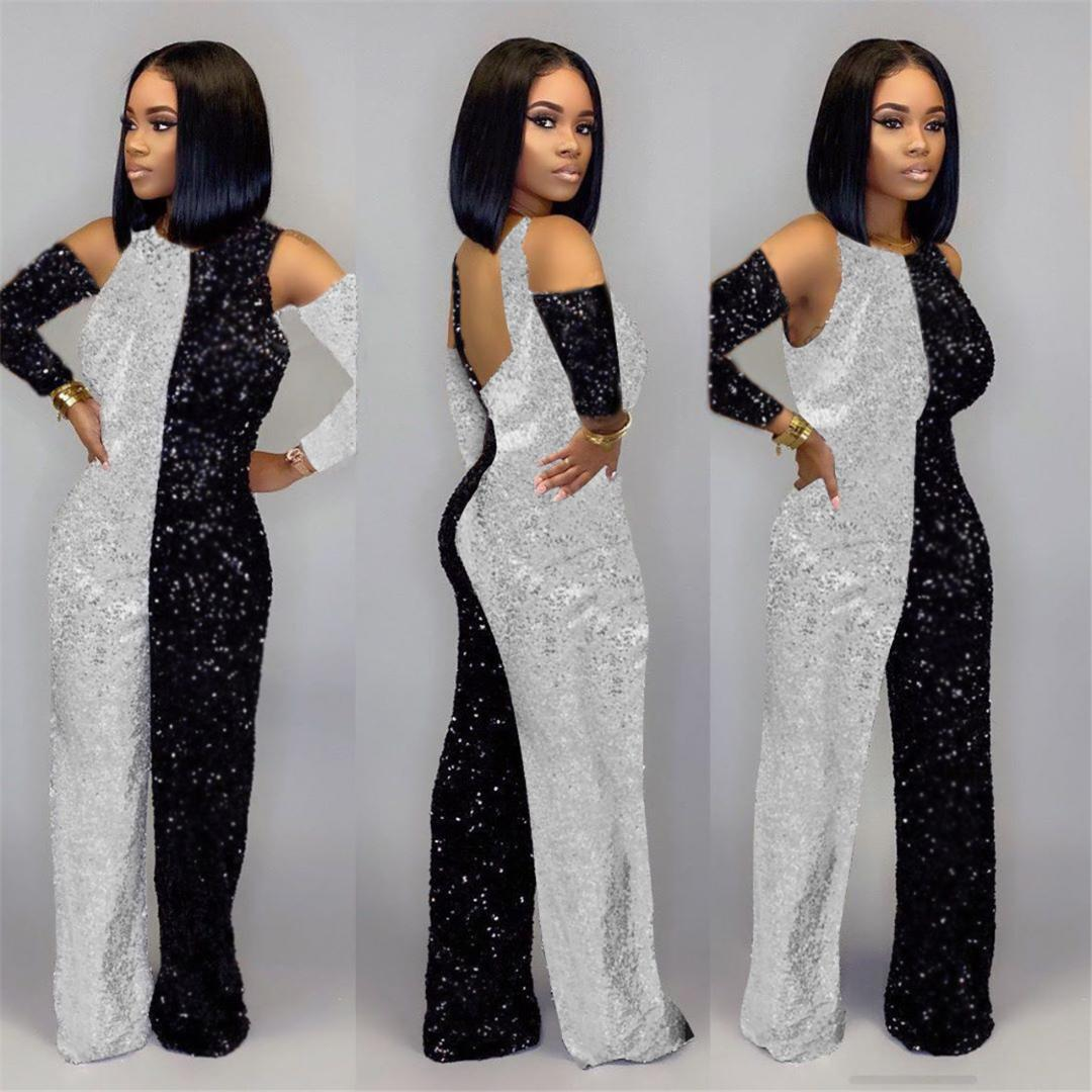 European and American women's explosions stitching sequin cloth hanging neck long section jumpsuit club party clothes