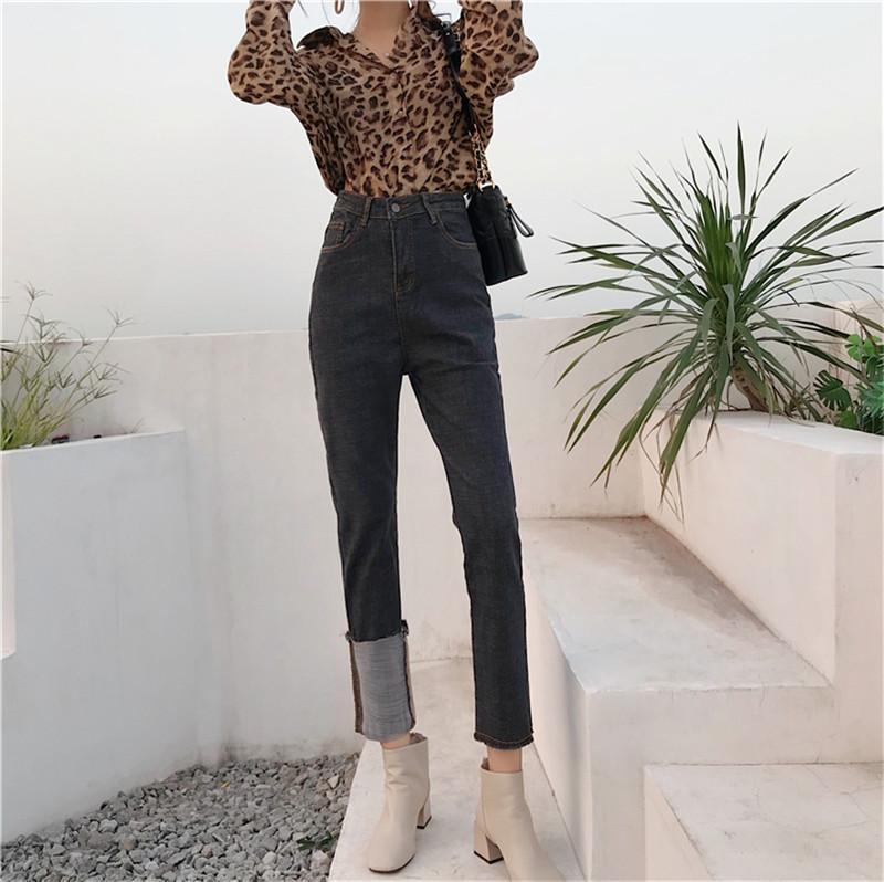 oportunidad real 2020 nueva asimétrica de la moda retro curvó nueve puntos pantalones vaqueros pierden elasticidad era delgada pantalones casuales mujeres