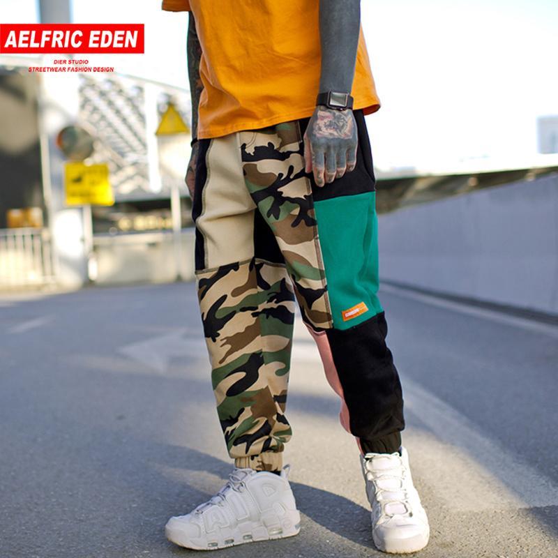Aelfric Éden Vintage Color Block Homens Sweatpants Patchwork Camo Corredores 2018 Hip Hop Skate Ativo Streetwear Sportswear UR02