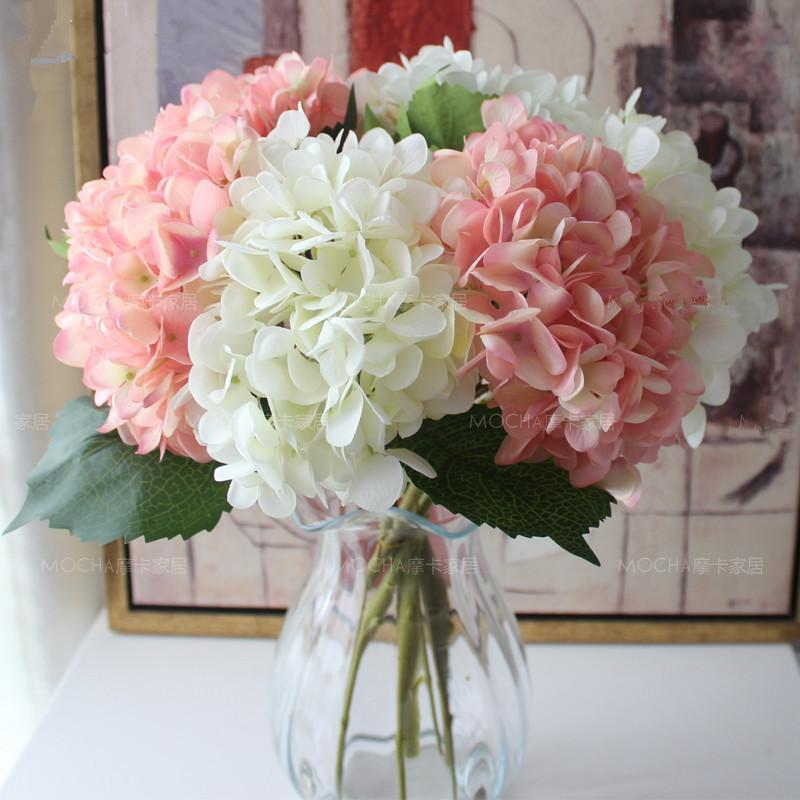 47cm Silk Hydrangeas Artificial Flowers Wedding Flowers for Bride Hand Silk Blooming Peony Fake Flowers White Home Decoration DLH377