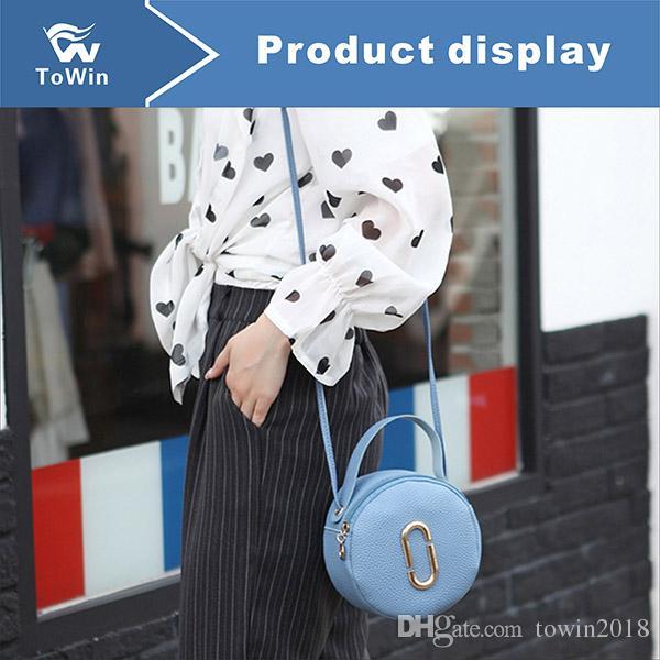 Ünlü Omuz Çantaları Kadın Kaliteli PU Deri Mini Crossbody Çanta Çanta Katı Renk Tasarım Çanta Yüksek Kalite Kadın Dairesel Çanta 5 Renkler