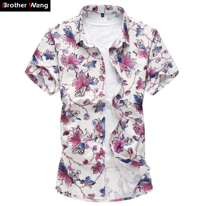 Marque Hommes Chemise d'été mince Section Mode à manches courtes hawaïenne Chemise à fleurs de grande taille 5XL 6XL 7XL Imprimé Homme T-shirt décontracté