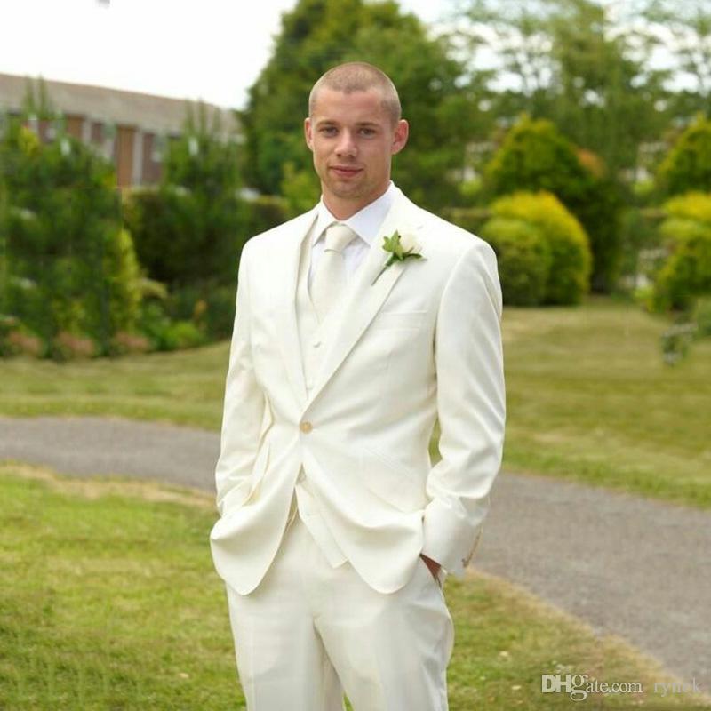 Ternos de marfim de verão para o casamento casual padrinhos outfit melhor homem blazer traje clássico homme mariage 3 peça slim fit terno masculino