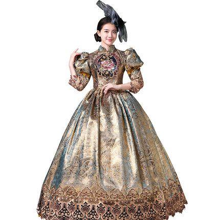 100% real Luxus Rokoko Stickerei Blase Ärmel Ballkleid mittelalterlichen Kleid Renaissance Kleid Sissi Prinzessin viktorianischen Maskerade / Bühne