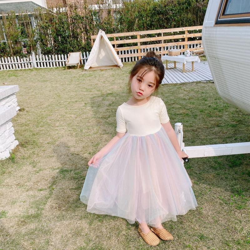 Toddler Baby Girl Kids Short-Sleeves Princess Summer Clothing Flowers Mesh Dress