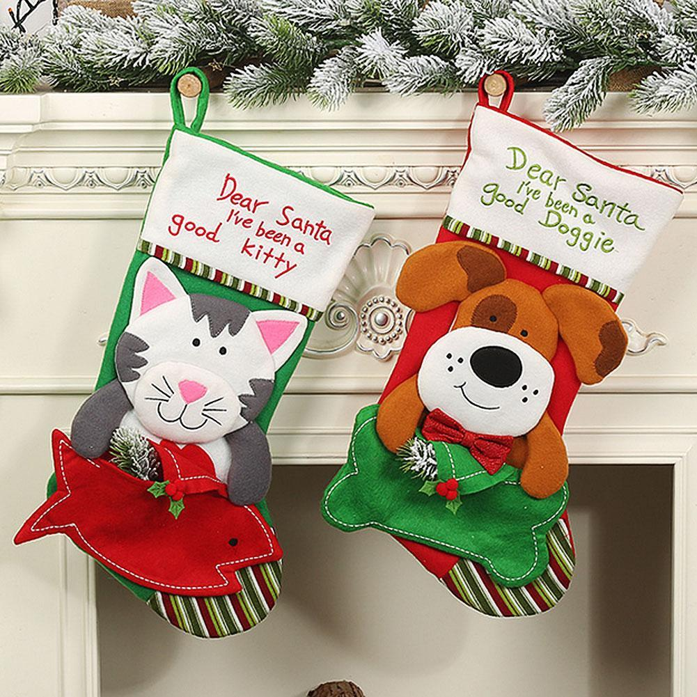 Cartoon Dog/Cat Christmas Stocking Candy Gift Bag Xmas Tree Hanging Ornament