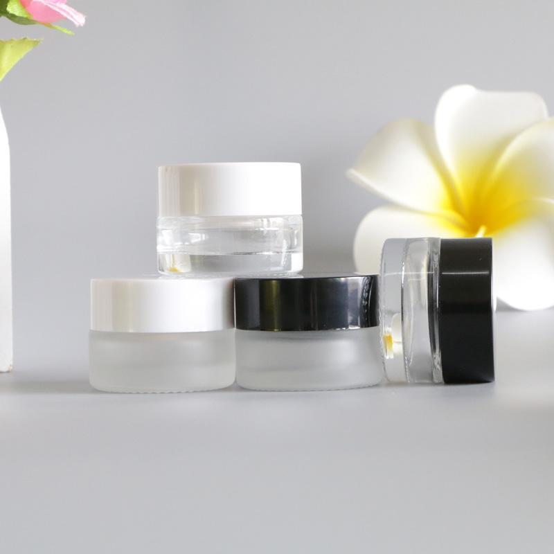 5g Transparente Frosted Glass Whitening Cream Jars Loción de maquillaje líquido Mascarilla Cuidado de la piel Vaciar los envases de cosméticos 120 unids / lote