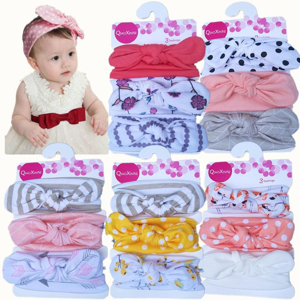 3pcs Soft Baby Girls Kids Toddler Bow-knot Hairband Headband Turban Head-Wrap