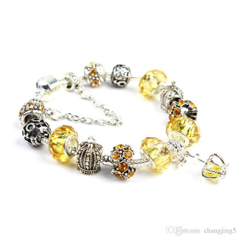 regalo 18 19 20 21 cm Charm pulsera brazalete de cristal pulseras de plata 925 para las mujeres corona real de los granos DIY de la joyería de Navidad