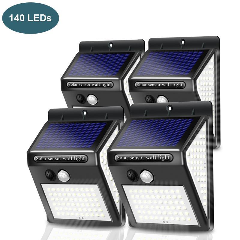 الشمسية الصمام الإضاءة في الهواء الطلق 140 المصابيح الألواح الشمسية السلطة البير استشعار الحركة للماء أدى حديقة ضوء الجدار ضوء