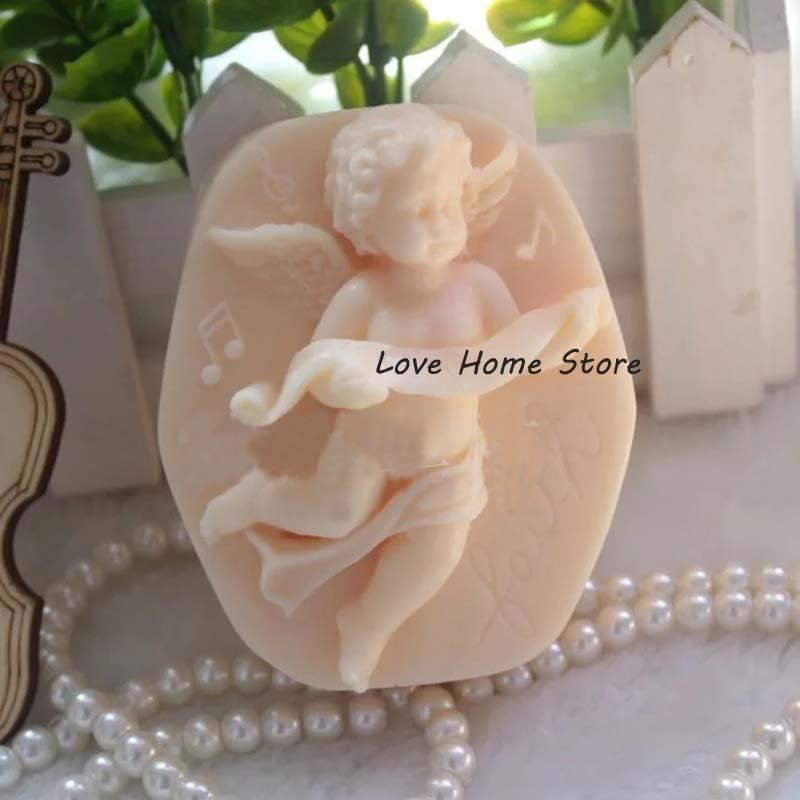 3D DIY angel bath Silicone Molds biscuit cake molds Silicone Mold For Handmade Soap Candle Candy chocolate baking moulds kit
