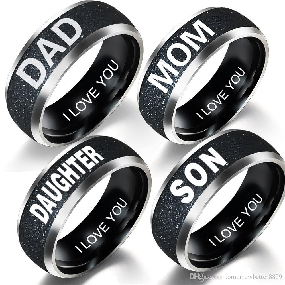 Neue einfache 8mm Edelstahl-Ring-Liebe Dad Mom Sohn Tochter Dekoration Familie Ring Schmuck Geschenke