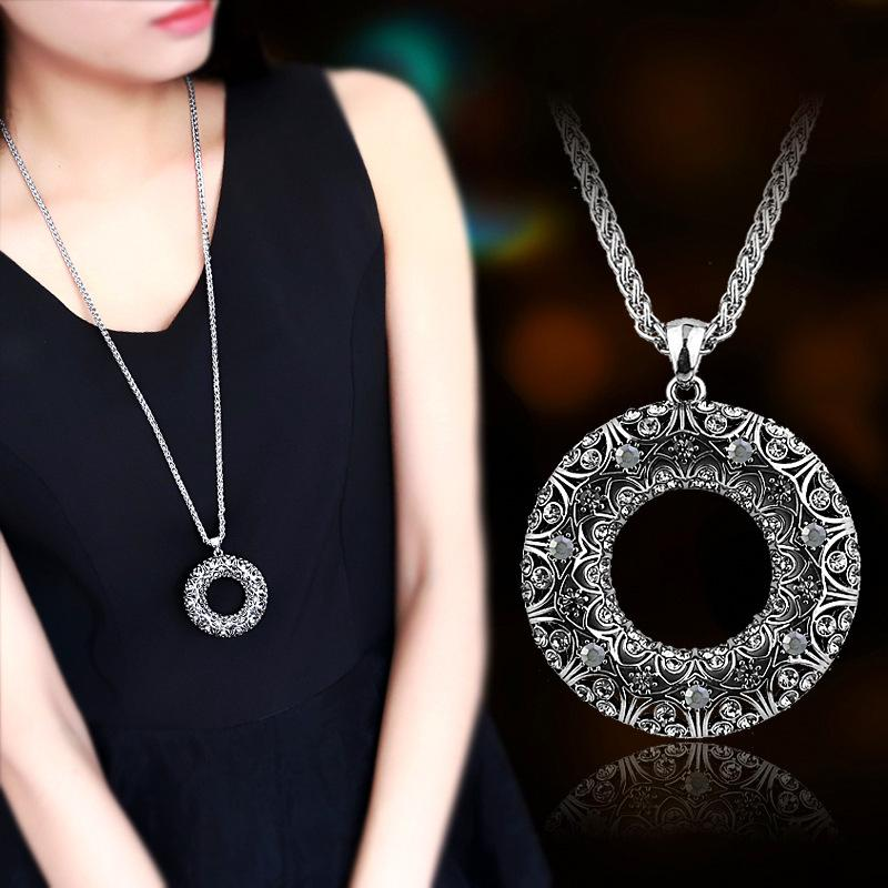 Basit yuvarlak elmas kolye Kore versiyonu uzun paragraf zincir etnik tarzı yabani kazak necklace695 Retro