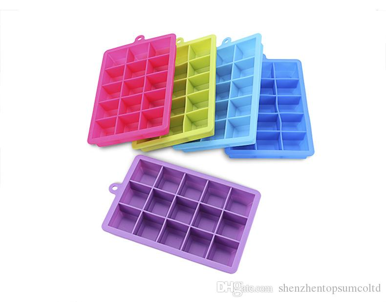 15/24 Cubes Ice Cube Trays Silicone Easy Release Ice Cube Maker Ice Mold Containers with Lid for Cocktail, Whiskey,food