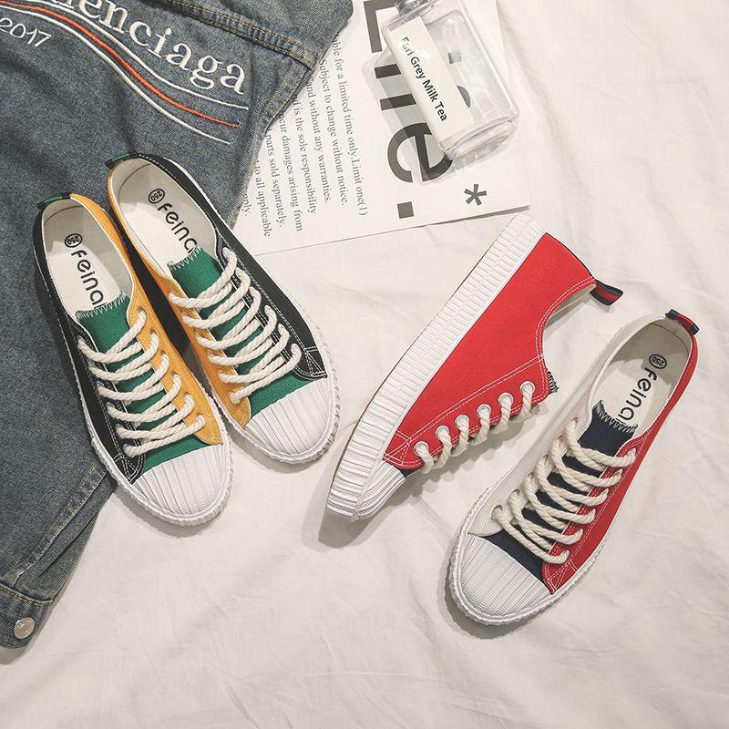 El nuevo verano nuevo estilo de zapatos zapatillas de lona pareja de estudiantes de sexo masculino super-fuego fregadero originales ulzzang coreanos 1992 zapatos del patín.