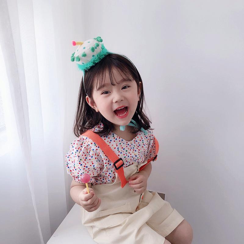 Boutique ins de mode mignon gâteau d'anniversaire Bandeaux Pom Pom Cupcake doux Parti Bandeaux Couvre-chef Princesse Accessoires cheveux