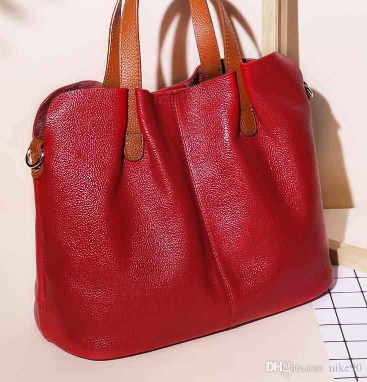 2019 yeni deri çanta moda kontrast renk birinci katman sığır derisi anne çantası big bag omuz asılmış çanta çanta kadın