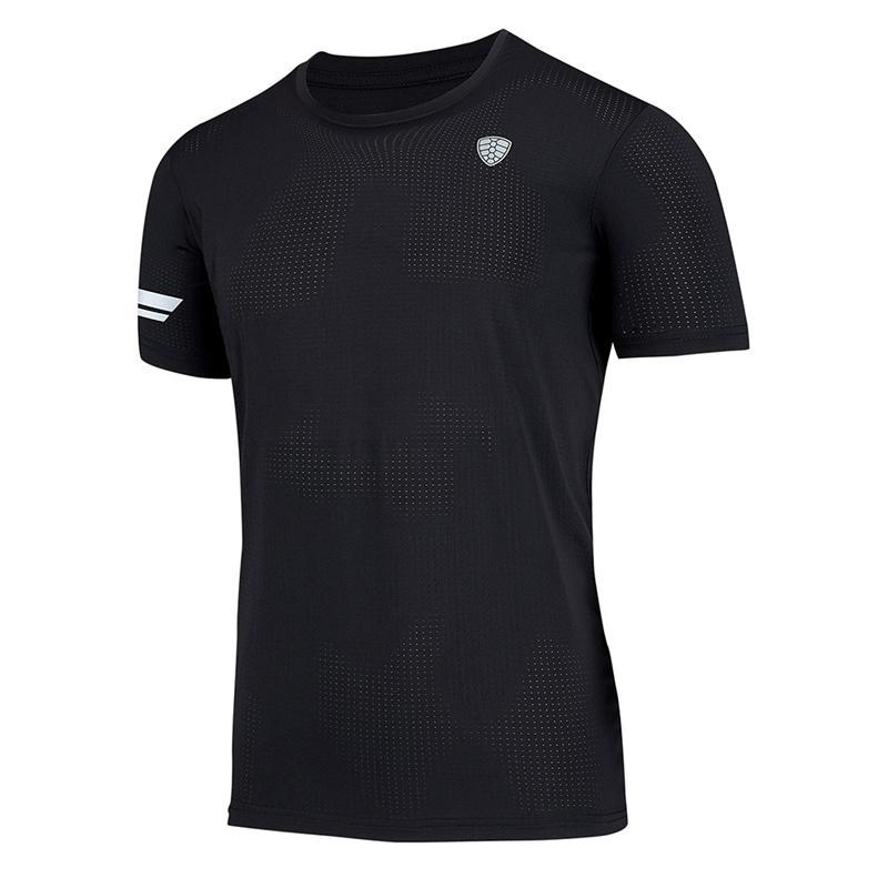 Yüksek Kalite Açık Running Binme Erkekler Tişört O Yaka Kısa Kollu Hızlı Kuru Tee Tayt Giyim Gym Fitness Spor Giyimi Tops