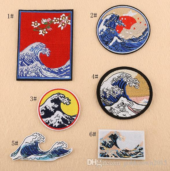 8P-68 hot sale Japanese Ukiyo-e embroidered Iron On Patch Applique Badge KIDS cartoon sun sea wave sew on patch Applique can customer design
