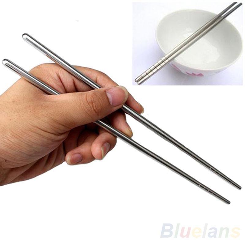 1 пара китайские палочки из нержавеющей стали стильный нескользящий дизайн палочки для еды кухонный инвентарь домашний сад бытовой