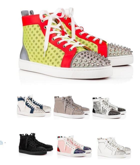 Фабрика оптовых цен High-топ Шипы Дизайнер красной подошвой тапки Обувь Совершенное качество Женщины, Мужчины Повседневная ходьба 17 цветов Стиль Отдых