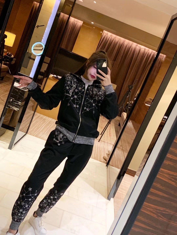 Осень весна 2019 женщины спортивный костюм модный балахон с длинным рукавом повседневная спорт женщины из двух частей наряды растениеводство толстовка топ брюки удобные