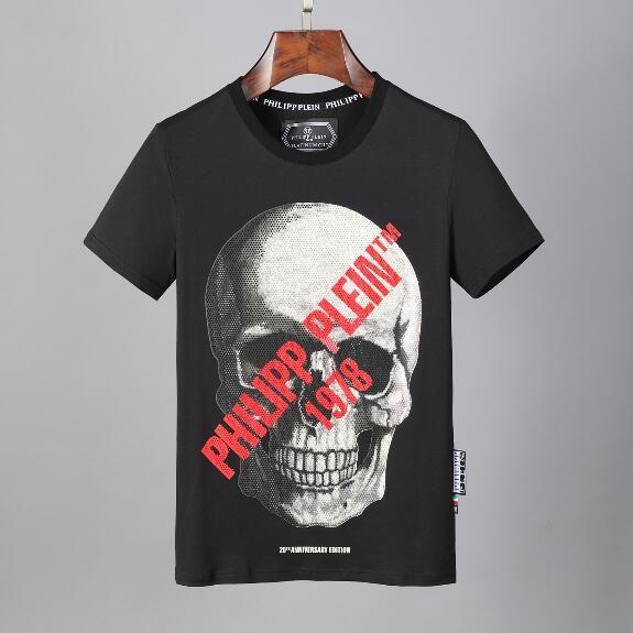 2020 Germania Marca Designer T-shirt cotone casuale T Moda strass Skull Stampa Top maglietta degli uomini di lusso Streetwear Hip Hop della roccia