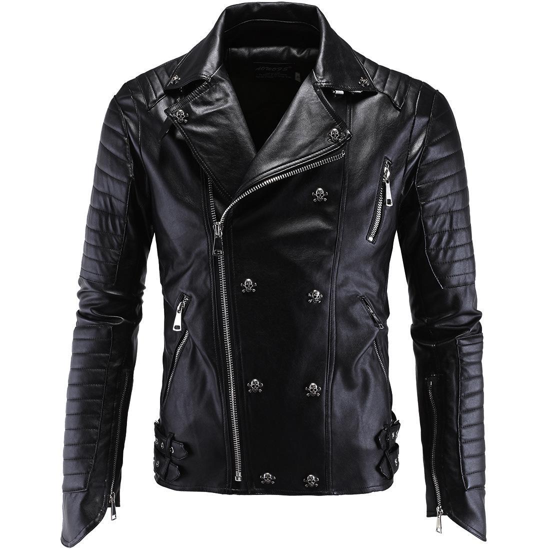 من المألوف الرجال معطف جلد الجمجمة دراجة نارية فاسق معطف جودة عالية والجلود سترة الملبس الشتاء الأسود للإنسان