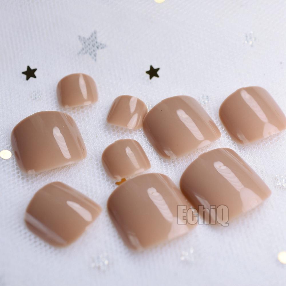 Light Brown False Toenail DIY Foot Fake Toe Nails Art Tools Accessories Manicure 24pcs Acrylic Salon Decor Nail Stickers Tips