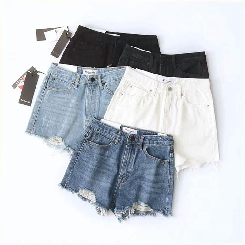bleu Mode d'été Faites vieille femelle de style porté haut ronce short en denim taille femmes noires jeans trou short décontracté filles chaud court